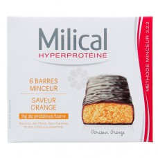 MILICAL HYPERPROTEINE BARRES MINCEUR ORANGE x 6