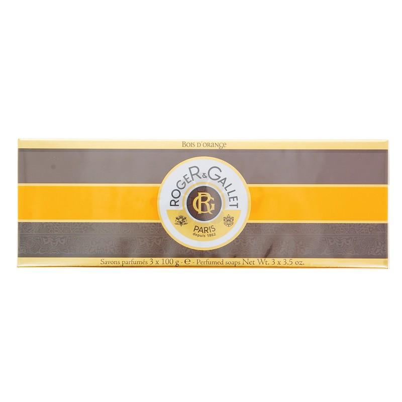COFFRET SAVONS PARFUMES BOIS D'ORANGE ROGER & GALLET 3 x 100G