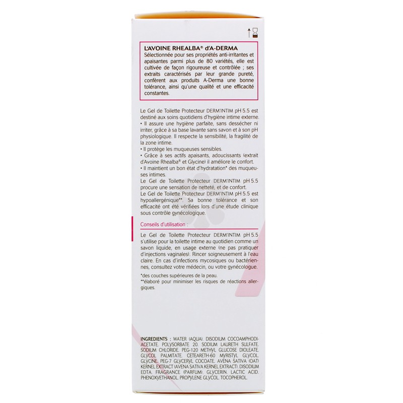 DERM' INTIM GEL DE TOILETTE PH5,5 A-DERMA 200ML