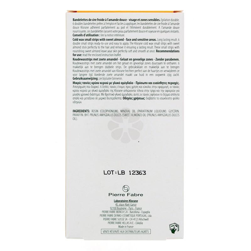 BANDELETTES CIRE FROIDE A L'AMANDE DOUCE VISAGE KLORANE x 6