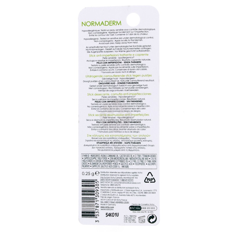 NORMADERM STICK ASSECHANT CAMOUFLANT ANTI-IMPERFECTIONS VICHY 0,25G