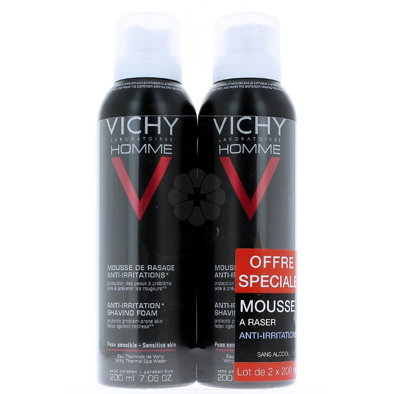 VICHY HOMME MOUSSE RASAGE ANTI-IRRITATIONS 200MLx2