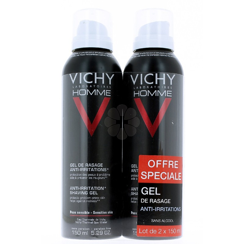 VICHY HOMME GEL RASAGE ANTI-IRRITATIONS 150MLx2