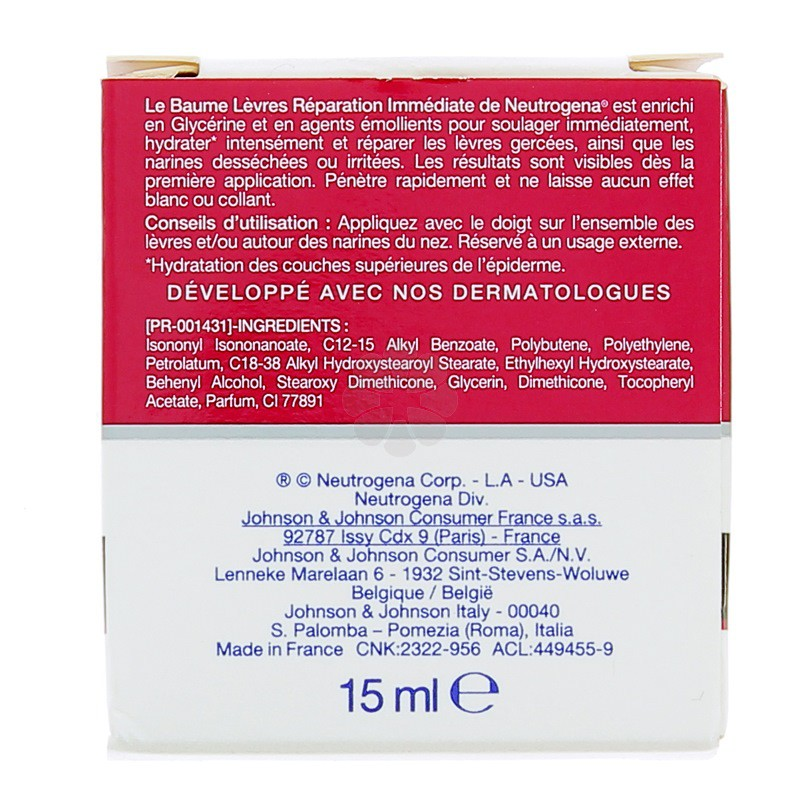 NEUTROGENA BAUME LEVRES REPARATION IMMEDIATE 15ML