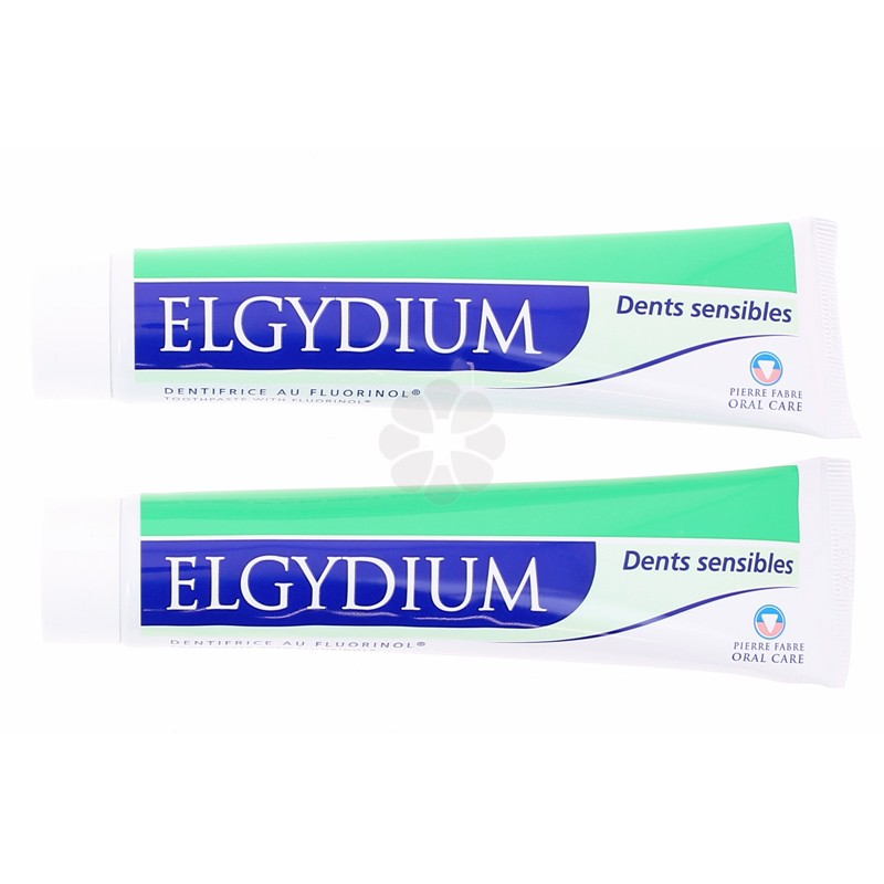 DENTIFRICE GEL AU FLUORINOL DENTS SENSIBLES ELGYDIUM LOT DE 2X75ML