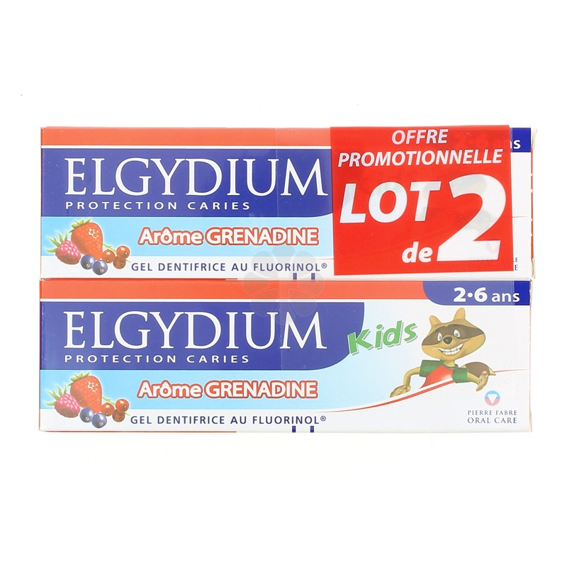 GEL DENTIFRICE AU FLUORINOL PROTECTION CARIES ELGYDIUM KID AROME GRENADINE X2