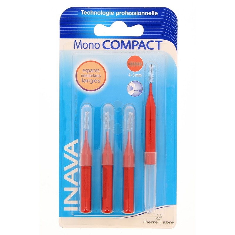 INAVA MONO COMPACT BROSSETTES ROUGE 4-3 MM x4