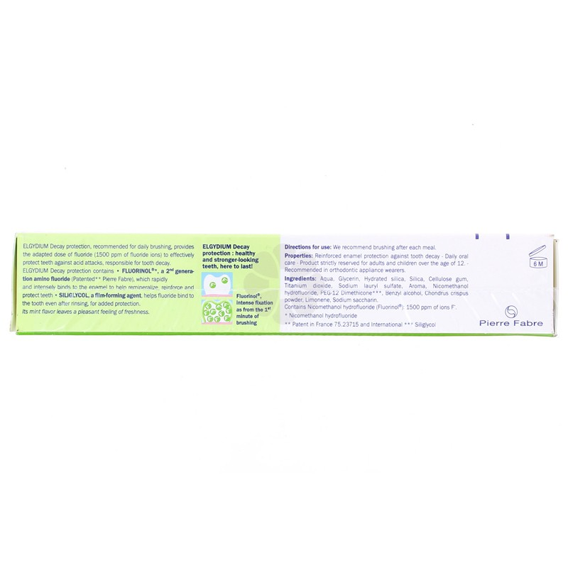 DENTIFRICE AU FLUORINOL PROTECTION CARIE ELGYDIUM AROME MENTHE LOT DE 2X75ML