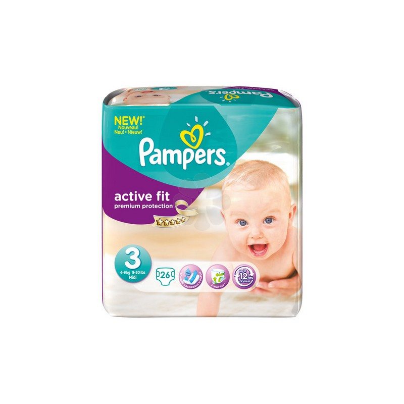 PAMPERS COUCHES ACTIVE FIT TAILLE 3 4-9 KG x 26