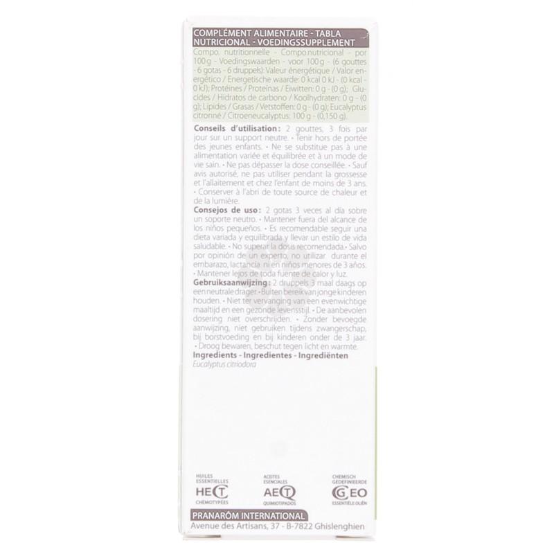 HUILE ESSENTIELLE EUCALYPTUS CITRONNE PRANAROM 10ML