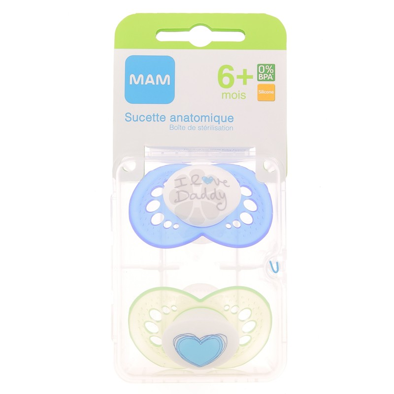 SUCETTES MAM ANATOMIQUES SILICONE 6 MOIS+ x 2
